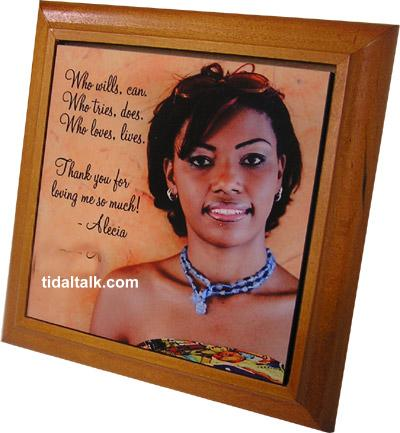 "Hardboard Photo Tile - Gloss Finish, 6"" x 6""  Personal Message & Graphics included.  Wood frame extra"